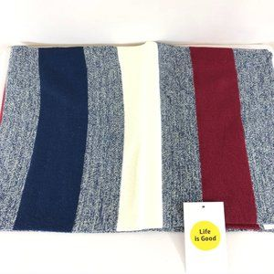 Life is Good Womens Scarf Striped Red White Blue